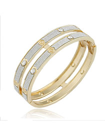 Floral Gold Color Double Layer Design Alloy Fashion Bangles