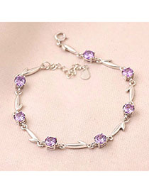 Hip Hop Purple Sweet Design Zircon Fashion Bracelets