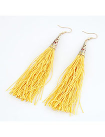 Teen Yellow Elegant Tassels Design Alloy Korean Earrings