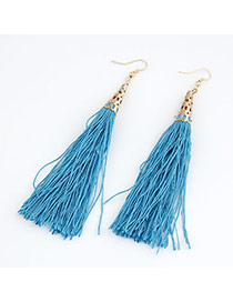 Peridot Lake Blue Elegant Tassels Design Alloy Korean Earrings