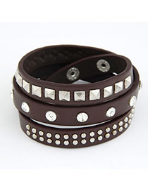 Military Coffee Multilayer Mulit Size Rivet Pu Korean Fashion Bracelet