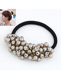 Athena Coffee Sweet Ball Shape Consist Pearl Hair band hair hoop