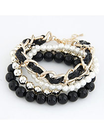Propper Black Pearl Woven Multilayer Design Alloy Korean Fashion Bracelet