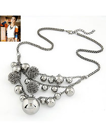 Streamline Lead Black Small Balls Decoration Alloy Multi Strand Necklaces