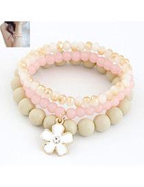 Shopping Pink Clover Decoration Alloy Korean Fashion Bracelet
