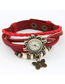 Memorable Red Butterfly Pendant Multilayer Design Alloy Ladies Watches
