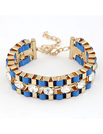 Square Blue Exquisite Weave Design Alloy Korean Fashion Bracelet