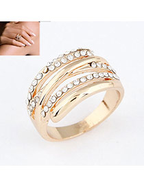 gold color simple personality design alloy Korean Rings
