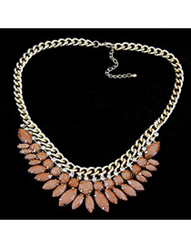 Aquamarine Dark Coffee Luxury Leaves Design Alloy Fashion Necklaces