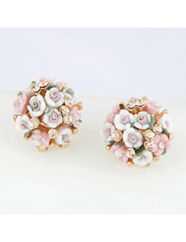 Natural Picture Color Blink Flowers Ol Design Alloy Stud Earrings