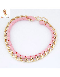 Folding Pink Fluorescence Weave Design Alloy Chains