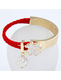Male Red Simple Blink Ball Design Alloy Korean Fashion Bracelet