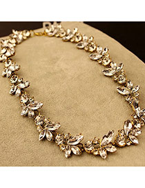 Scottish Gold Color Bright Flowers Design Alloy Bib Necklaces