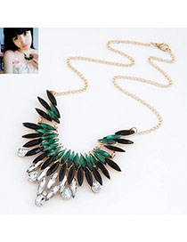 Tory Picture Color Luxury Feather Design Alloy Bib Necklaces