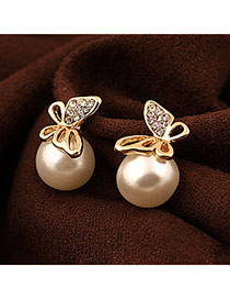 Posh Gold Color Butterfly Pearl Design