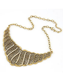 Bead Bronze Hollow Out Net Design Alloy Korean Necklaces