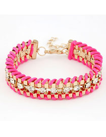 Mexican Plum Red Weave Decorated With Cz Diamond Alloy Korean Fashion Bracelet