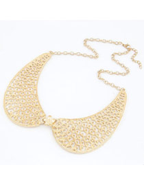 Retro Gold Color Hollow Out Geometric Shape Decorated Tassel Pendant Necklace