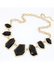Stylish Black Geometric Multilateral Type Design Alloy Bib Necklaces