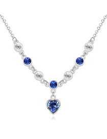 Writing Blue Love Of My Life Theme Austrian Crystal Crystal Necklaces