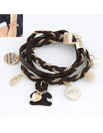 Best Dark Brown Lovely Bear Multilayer Design Alloy Korean Fashion Bracelet