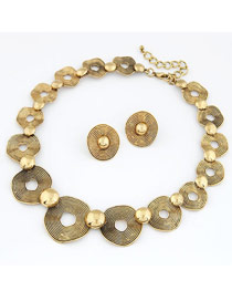 Coral Gold Color Vintage Simple Round Shape Short Style Alloy Jewelry Sets