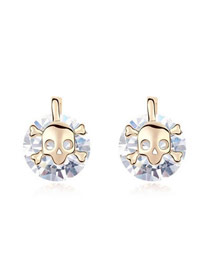 Trendy White Skull Spirit Design Zircon Crystal Earrings