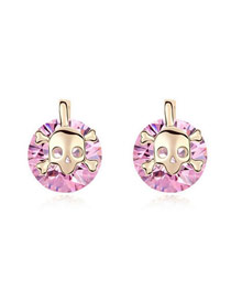Homecoming Pink Skull Spirit Design Zircon Crystal Earrings