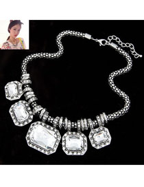 Cool White Exaggerate Gorgeous Jewel Alloy Bib Necklaces