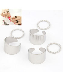 Promise Silver Color Simple Fingernail Style (6pcs)