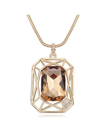 Dash Light Coffee Simple Hollow Design Glass Crystal Necklaces