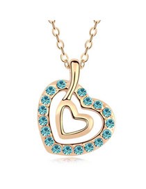 Drawstring Sea Blue Heart In Heart Design Austrian Crystal Crystal Necklaces