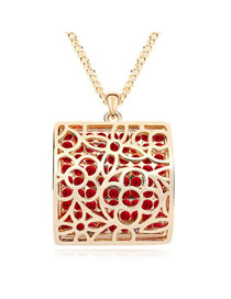 High Quali Red Hollow Square Shape Austrian Crystal Crystal Necklaces