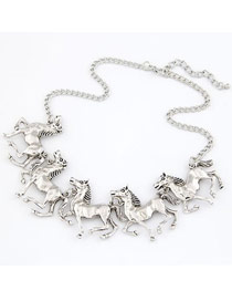 Wide Silver Color Elegant Horses Design