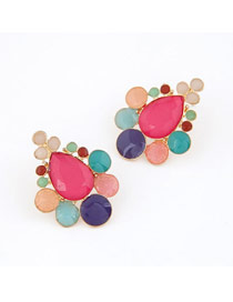 Daisy Plum Red Sweet Drop Shape Design Alloy Stud Earrings