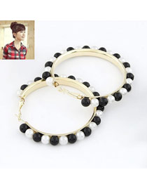 Fingerprin Black And White Big Circle Pearl Design