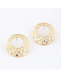 Punk Gold Color Simple Circle Design Alloy Stud Earrings