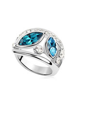 Floral Blue Simple Double Gemstone Design Austrian Crystal Crystal Rings