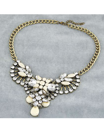 Noble White Luxury Drop Shape Design Alloy Bib Necklaces