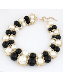 Pentacle Black And White Big Pearls Weave Design Alloy Fashion Necklaces