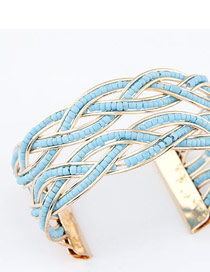 Upper Sky Blue Bohemia Beads Style Alloy Fashion Bangles
