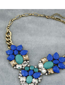 Corporate Blue And White Luxurious Gemstone Style Alloy Bib Necklaces