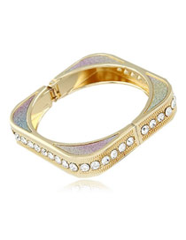 Expression Multicolor Square Shape Design Alloy Fashion Bangles
