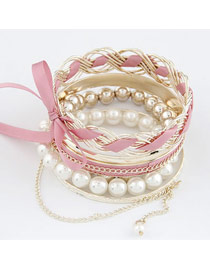 Glueless Pink Bowknot Pearl Multilayer Alloy Fashion Bangles