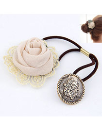 Fresh Beige Lace Rose Design Rubber Band Hair band hair hoop