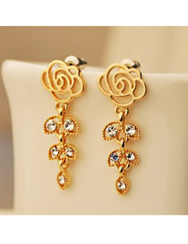 22K Gold Rose And Leaft Shape Design