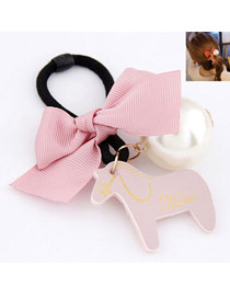 Blank Pink Wooden Horse Decorated Ribbon Hair band hair hoop