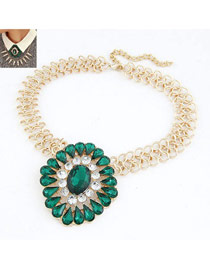 Masonic Green Gemstone Drop Shape Design Alloy Bib Necklaces