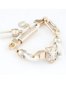 Trendy White Leopard Head Decorated Design Alloy Korean Fashion Bracelet