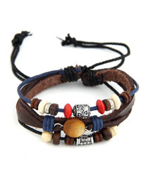 Coast Dark Coffee Multilayer Simple Design Leather Korean Fashion Bracelet